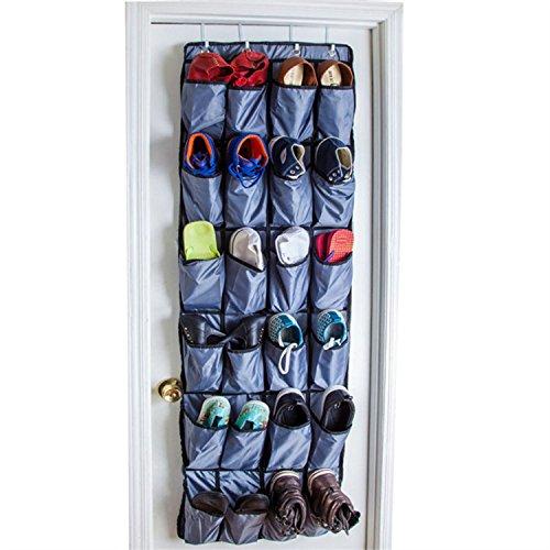 Zzmart Over the Door Shoe Organizer with 4 Reversible Metal Over the Door Hooks 24 Large Pockets OVER THE DOOR SHOE RACK and Closet Organizer System