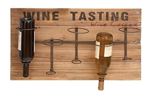 Benzara 55844 Iron Wood Metal Wine Rack