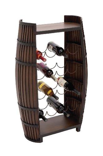 Benzara The Polished Wood Metal Wine Rack