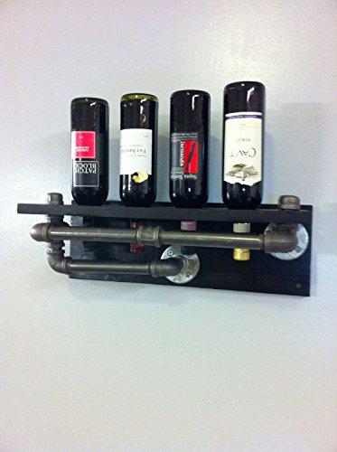 Diwhy Rustic Industrial steampunk 4 Bottle Wine rack Wood Metal Wine Rack