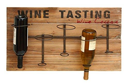 Iron Wood Metal Wine Rack 26W 15H