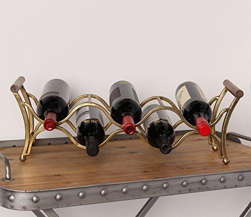 Kate and Laurel Jemima Countertop Metal Wine Rack Holds 5 Wine Bottles With Wood Handles Gold