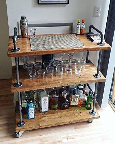 WGX Wood and Metal Wine Rack with Wheels Kicthen Bar Dining Room Tea Wine Holder Serving Cart Furniture