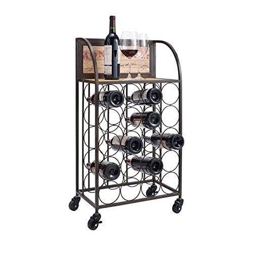 Wood and Metal Wine Rack with Wheels