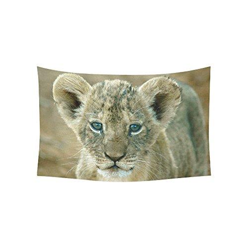ADEDIY Custom Tapestry Baby Lion Leo Cotton Linen Wall Hanging Tapestry 60x40 Inch Home Art