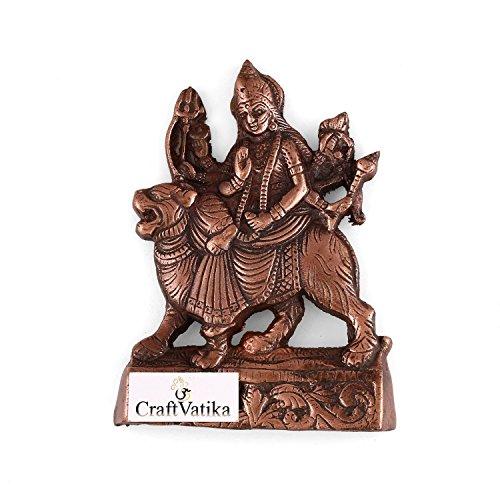 CraftVatika Hindu Goddess Durga On Lion Wall Hanging  Metal Devi Durga Idol Home Decor Art Sculpture