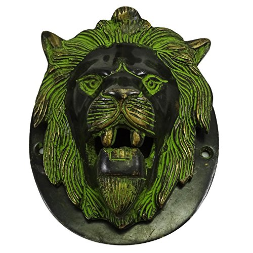 Decorative Door Knocker Lion Wall Hanging Brass Engraved Home Decor Sculpture
