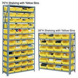 13 Shelf Steel Shelving With 36 4H Plastic Shelf Bins Green 36x12x72