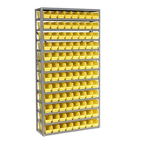 13 Shelf Steel Shelving With 96 4H Plastic Shelf Bins Yellow 36x12x72