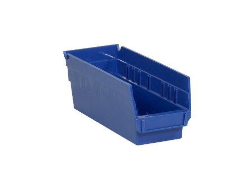 Aviditi BINPS102B Plastic Shelf Bin Boxes 11 58 x 4 18 x 4 Blue Pack of 36