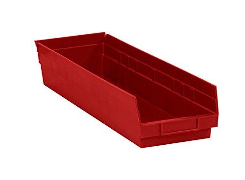 RetailSource 23 58 x 6 58 x 4 Red Plastic Shelf Bin Box