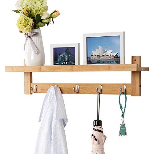 LANGRIA Wall-Mounted Coat Hook Bamboo Wooden Coat Rack and Hook Rack with 5 Metal Hooks and Upper Shelf for Storage Scandinavian Style for Hallway Bathroom Living Room Bedroom Bamboo Color
