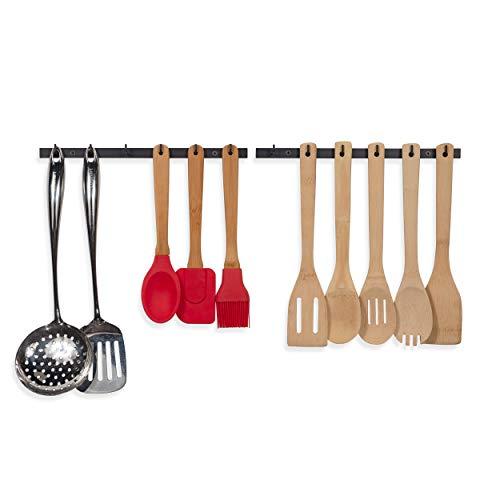 Wallniture Puno Kitchen Drawer Organizer Racks with Hooks Wall Mount Utensil Holder Silverware Organizer Black set of 2