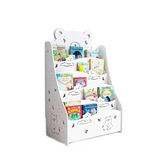 CQ Creative Cute Bookshelf Childrens Bookshelf Floor Simple Student Baby Bookcase Kindergarten Childrens Picture Book White Bear Storage Rack