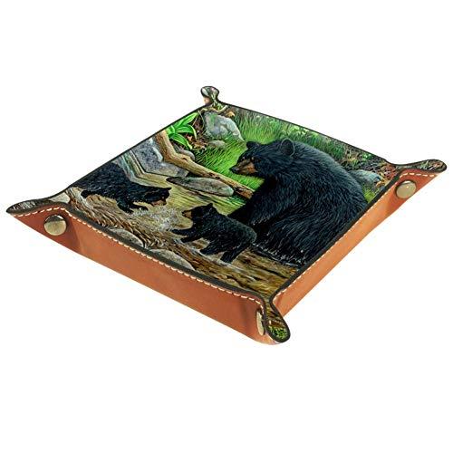 Lyetny Black Bears Storage Box Bedside Desktop Tray Change Key Wallet Coin Box Tray Storage Valet16x16cm