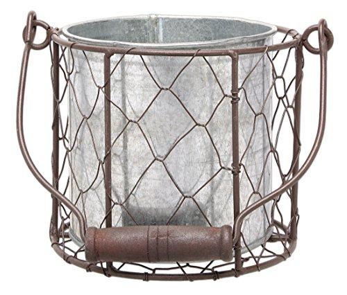 MayRich 45 Decorative Round Wire Basket with Tin Container