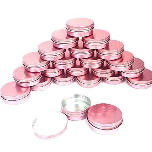 Sarira C Hot Pink 1oz30ml Aluminum Tins Containers with Screw Top Round for Lip BalmCometicCandlesCraftsCream Salves 24 pack