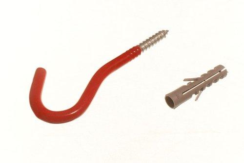 100 X Red Wall Hook Elephant Utility Tool Storage Hook With Rawl Plugs