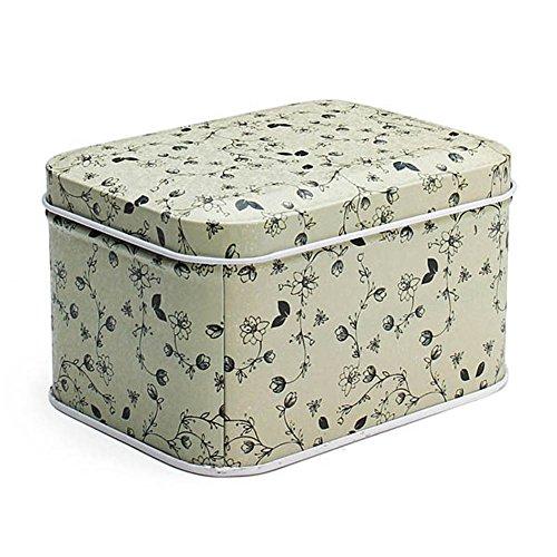 1 Pcs New Floral Rectangle Tin Box Tea Coffee Candy Storage Keepsake Box Gift Tin Box Case Color Random