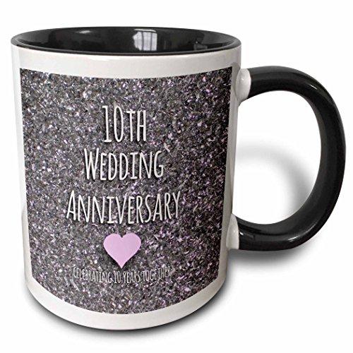 3dRose mug_154442_4 10th Wedding Anniversary gift Tin bits photo celebrating 10 years together tenth anniversaries ten Two Tone Black Mug 11 oz BlackWhite
