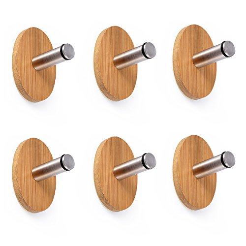 Adhesive Hooks Oak Leaf 6 PCS Heavy Duty WoodStainless Steel Decorative Stick Wall Hooks Clothes Hangers for Home Kitchen Coats Hats Keys Bags