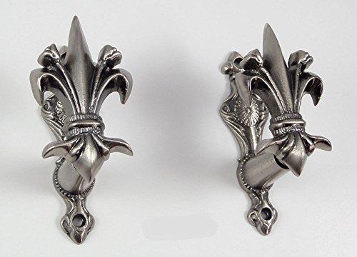 Fleur-de-lis Sword Gun Wall Hanger Coat of Arms Display Set Drapery Bracket Hook