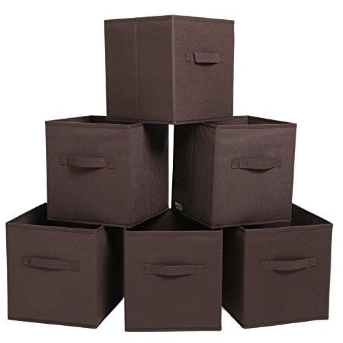 Finnhomy Foldable Storage Cube Fabric Basket Bins Cloth Folding Box Closet Drawers Container Dresser Basket Organizer Shelf Collapsible for Underwear Sock Bra Tight Kids Toy Set of 6 BlackBrownGray