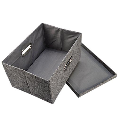 Storage Box Yamix Fabric Collapsible Storage Containers Cloth Organizers Basket Bin Shelf Storage Bin Closet Organizer Box Basket Closet Box with Lid and Handle13x9x7 - Grey