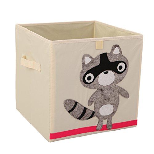 Toy Storage Box Cube Origanizer for Kids Foldable Cloth Storage Bins Basket By Singles Day13 inch 3 3 3 box Raccoon