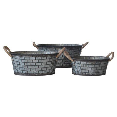 Cheungs FP-4416-3 Set of 3 Brick Design Metal Storage Bin with Rope Handles - 87 x 127 x 187 in