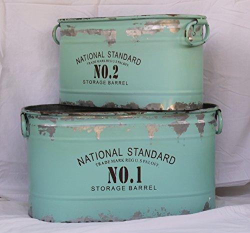 Glory Grace Rustic Industrial Farmhouse Aqua National Standard Nos 1 and 2 Metal Storage Bins Set of 2