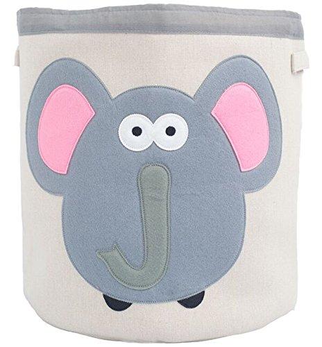 Grey Bee Animal Theme Collapsible Canvas Storage Bin for Kids Grey - Elephant