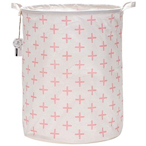 Sea Team 197 Large Sized Waterproof Coating Ramie Cotton Fabric Folding Laundry Hamper Bucket Cylindric Burlap Canvas Storage Basket with Stylish Pink Cross Design