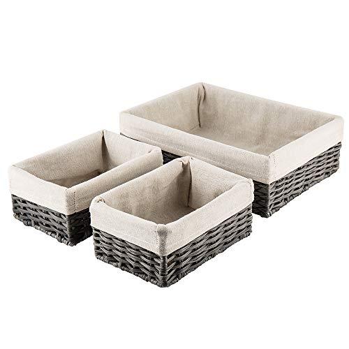 HOSROOME Handmade Wicker Storage Baskets Set Shelf Baskets Woven Decorative Home Storage Bins Decorative Baskets Organizing Baskets Nesting BasketsSet of 3Grey
