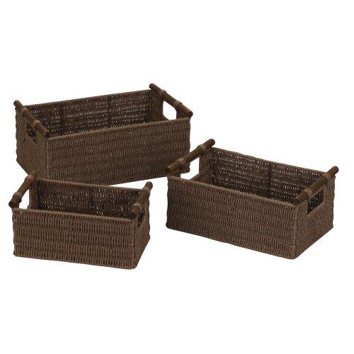 Household Essentials ML-7050 Paper Rope Wicker Storage Baskets with Wood Handles  Set of 3  Dark Brown Stain