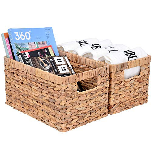 StorageWorks Water Hyacinth Wicker Storage Baskets Rectangular Hand-Woven Basket with Handle 13 x 83 x 71 2-Pack