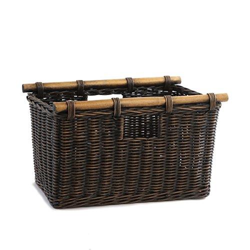 The Basket Lady Tall Narrow Wicker Storage Basket Small 16 in L x 95 in W x 10 in H Antique Walnut Brown