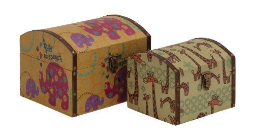Deco 79 86876 Wood Canvas Box Set of 2