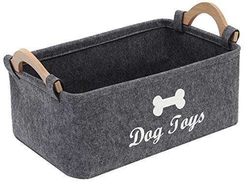 Xbopetda Fiber Soft Felt Dog Storage Basket Bin Organizer - with Wooden Handle- Pet Supplies Storage BasketBin Kids Toy Chest Storage Trunk -Grey