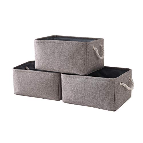 tegance Grey Basket Storage Baskets 3-Pack Fabric Baskets Rectangular Storage Bins Decorative Baskets Canvas Storage Basket for Empty Gifts Basket Storage for Nursery 157x 118x 83