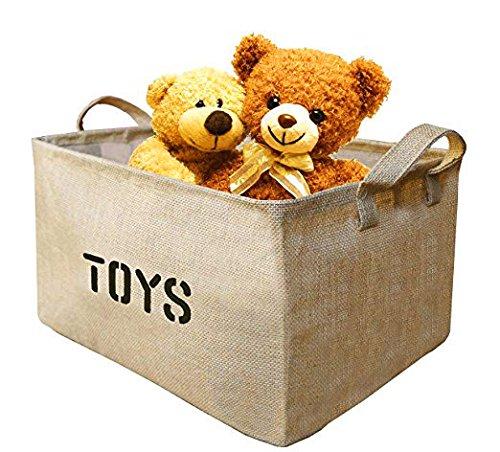Youdepot Large Jute Storage Bin 17 x 13 x 10 large enough for Toy Storage - Storage Basket for organizing Baby Toys Kids Toys Baby Clothing Children Books Gift Baskets-1 Pcs Toys Storage Bin