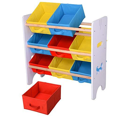 LeeMas Inc 9 Removable Non-Woven Storage Bins Toys Organizer Rack Wood Shelf for Kids Children