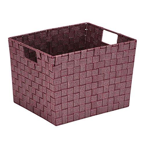 Simplify Large Lure Striped Woven Storage Bin in Burgundy