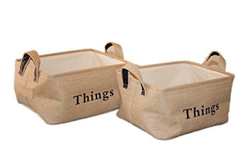 2-Pack Large JuteBurlap Decorative Storage Baskets Closet Organizers Closet Drawers Cloth Storage Containers Toy Storage Nursery Storage Organizers Baby Baskets Fabric Storage Bins