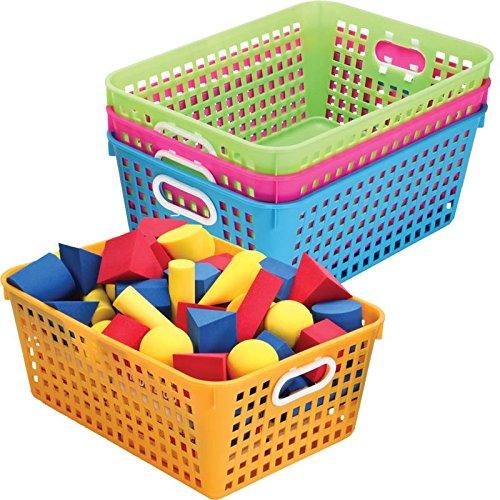 Really Good Stuff Multi Purpose Storage Baskets -13x 10 - Neon Colors -Set of 4