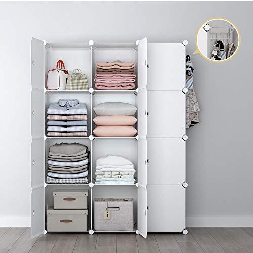 YOZO Modular Wardrobe Portable Clothes Closet Dresser Garment Rack Polyresin Storage Organizer Bedroom Armoire Cubby Shelving Unit Dresser Multifunction Cabinet DIY Furniture White 12 Cubes