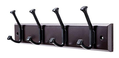 Finnhomy Wooden Coat Hooks Wall Hooks 4 Dual Hooks 16-Inch RailPilltop Rack Long Coat Rack for Clothes Entryway Foyer Storage Organization Bathroom Towel Key Accessory EspressoBlack Hook