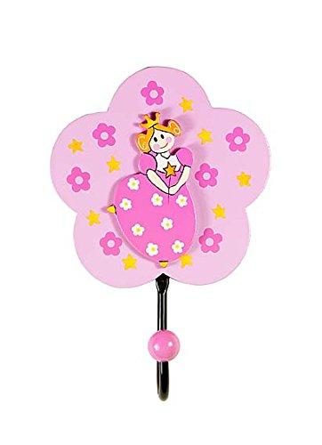 Pink Princess Childrens Wooden Coat Hook for Girls Nursery or Bedroom