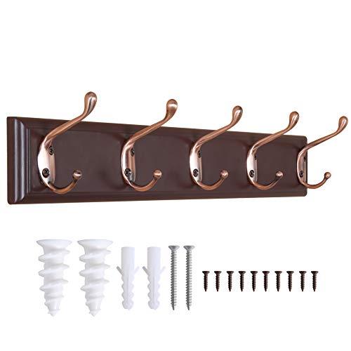 WEBI Coat Rack Wall Mounted5 Coat Hooks for HangingWood Coat Hanger Wall Mount Wall Coat Rack Wooden Hook Rack Hook Rail for HatTowelsJacket