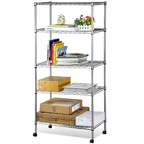 Home Kitchen Garage Wire Shelving 5 Shelf Storage Rack Unit Shelves Metal Closet